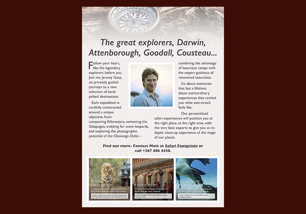A digital flyer for Safari Footprints, to advertise one of their guided tours.