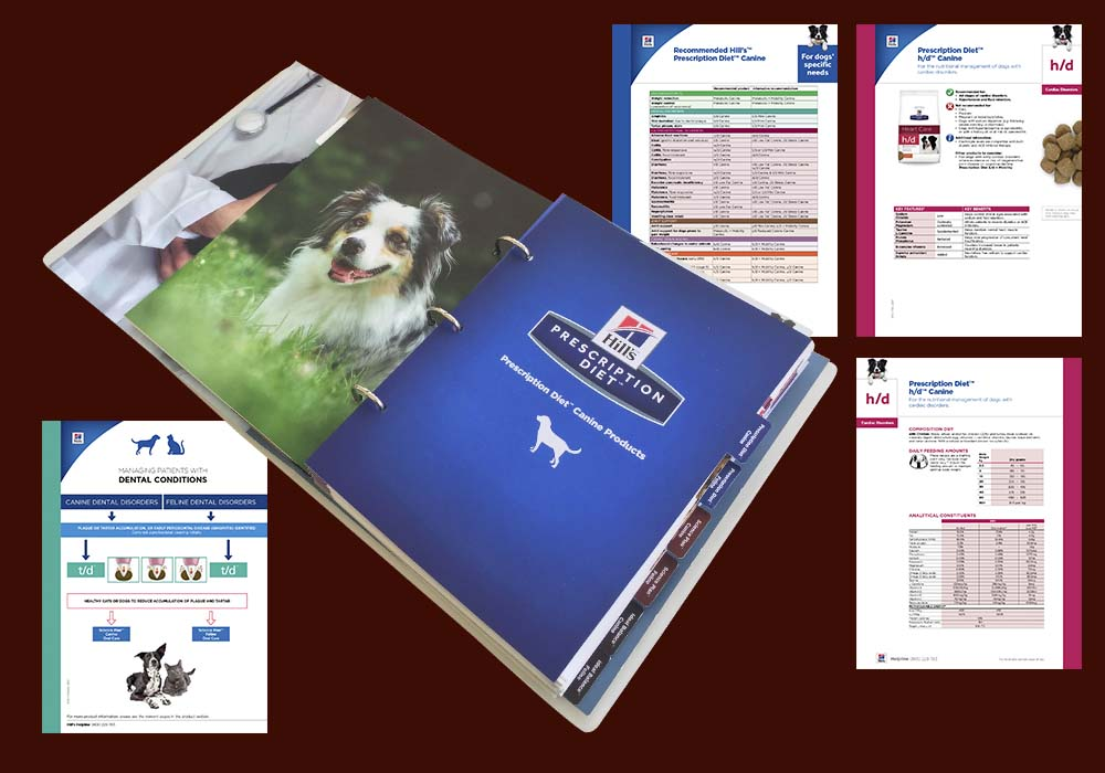 The Hill's Product Key is a comprehensive 340-page document that we adapted and produced locally. It is the 'Hill's Bible' used by vet practices to advise pet parents on the best Hill's product for their pets.