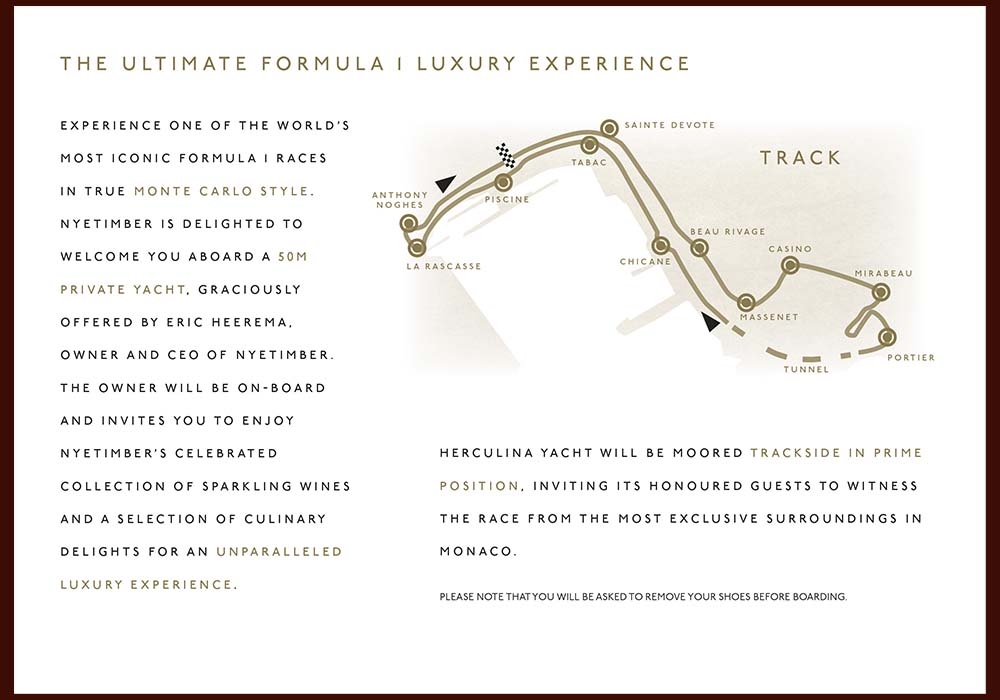 Brochure for Nyetimber for Grand Prix event in Monaco