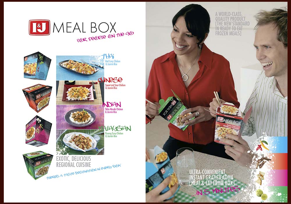 We produced the marketing materials for the launch of the new I&J Meal Box range.