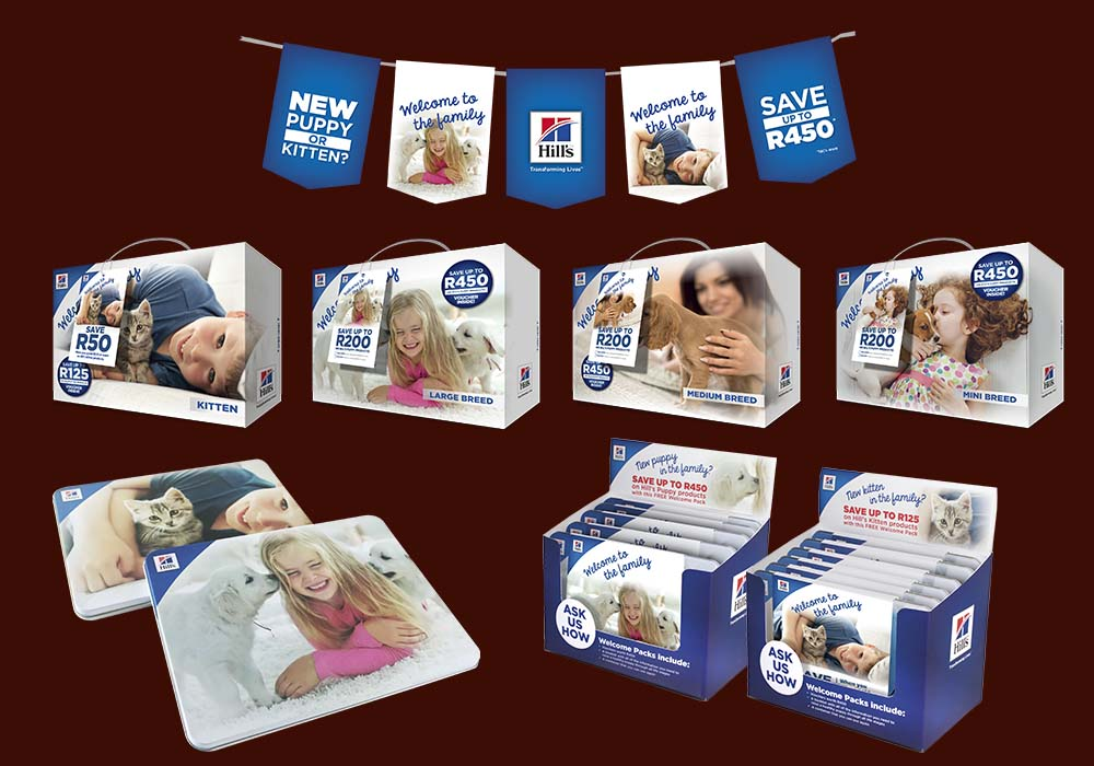 The Hill's Welcome to the Family promotion is underpinned by its welcome packs for new pet parents – these are either supplied in tins or in attractive 'kit' boxes.