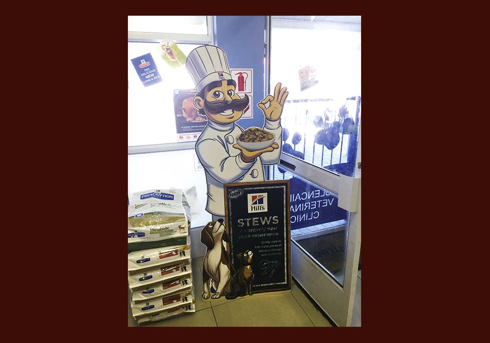 Meet Chef Luigi, created by us for the launch of Hill's Stews. Shown is a life size cardboard standee that dominated retail space during launch.