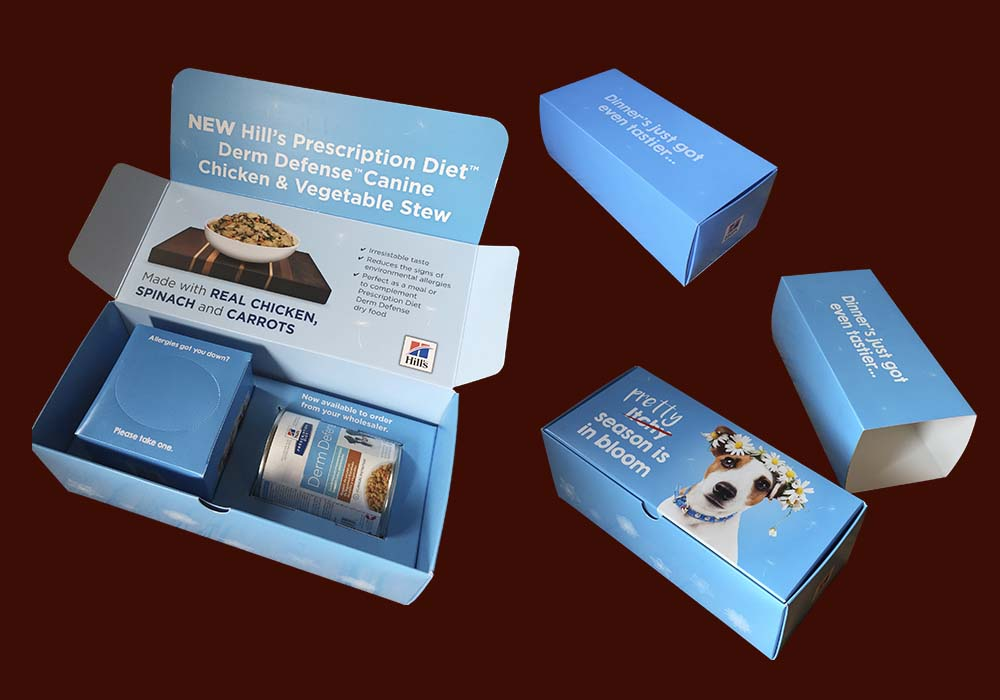 We developed this presentation box to launch Derm Defense Stews, which included a box of tissues for use in the veterinary practice and which promoted the new product in an innovative way.