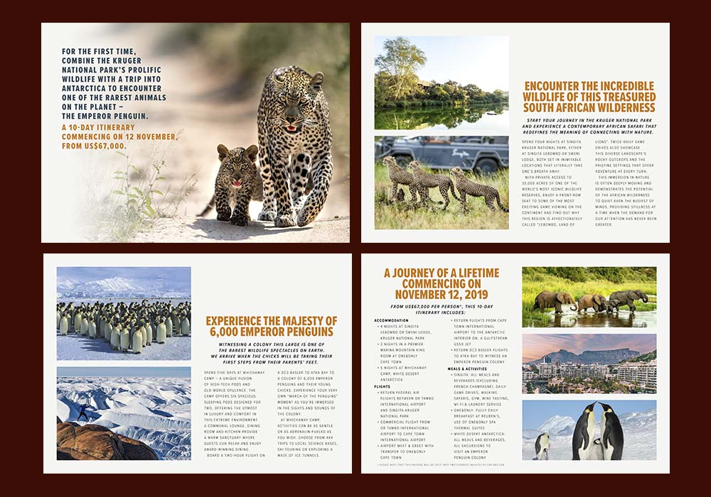 Safari Footprints is a Botswanan-based luxury tour operator that markets assorted packages to its clientele via email. To this end, we designed easy-to-read, attractive and informative brochures to send to their client database.