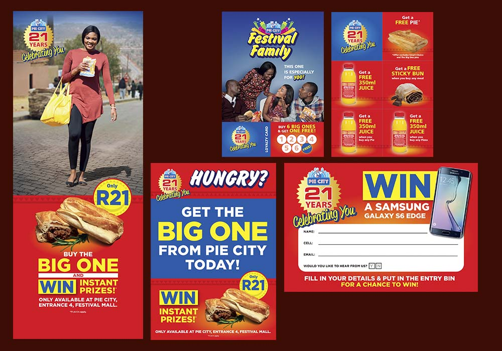 When Pie City celebrated its 21st anniversary, we designed these marketing materials for distribution in townships such as Tembisa.